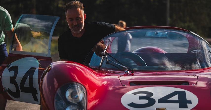 Hassan Moghadam with Ferrari Dino