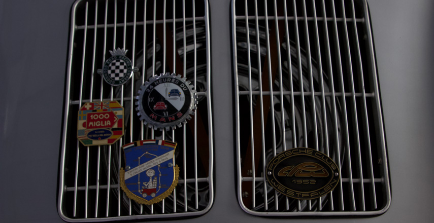 car grill with various logos